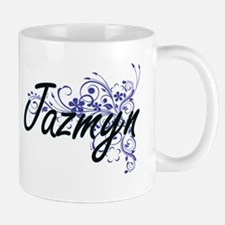 Jazmyn Artistic Name Design with Flowers Mugs