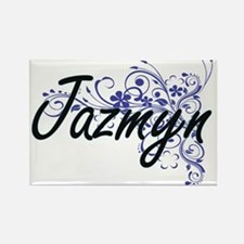Jazmyn Artistic Name Design with Flowers Magnets