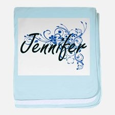 Jennifer Artistic Name Design with Fl baby blanket