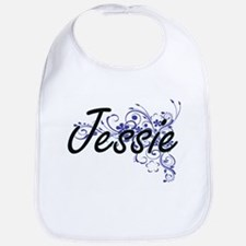 Jessie Artistic Name Design with Flowers Bib