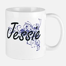 Jessie Artistic Name Design with Flowers Mugs