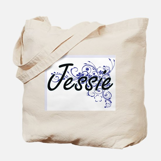 Jessie Artistic Name Design with Flowers Tote Bag