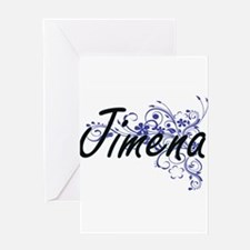Jimena Artistic Name Design with Fl Greeting Cards