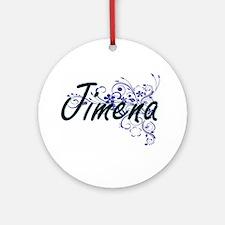 Jimena Artistic Name Design with Fl Round Ornament