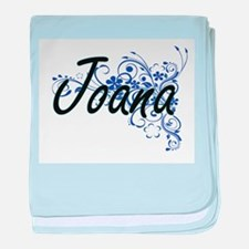 Joana Artistic Name Design with Flowe baby blanket
