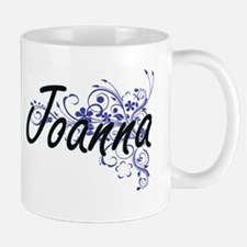 Joanna Artistic Name Design with Flowers Mugs