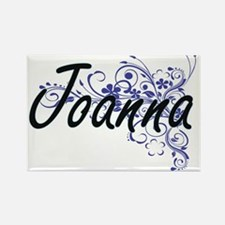 Joanna Artistic Name Design with Flowers Magnets