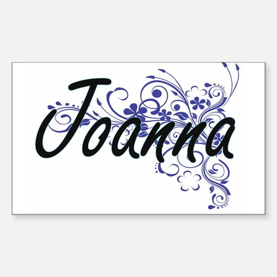 Joanna Artistic Name Design with Flowers Decal