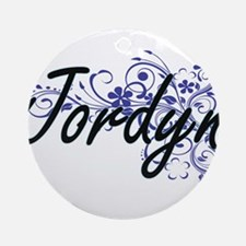 Jordyn Artistic Name Design with Fl Round Ornament