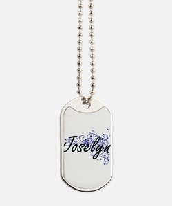 Joselyn Artistic Name Design with Flowers Dog Tags