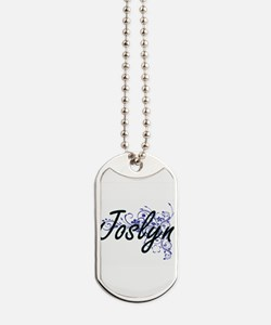 Joslyn Artistic Name Design with Flowers Dog Tags