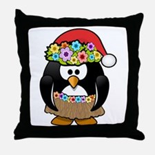 Christmas In Summer Penguin Throw Pillow