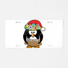 Christmas In Summer Penguin Aluminum License Plate