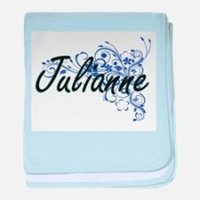 Julianne Artistic Name Design with Fl baby blanket