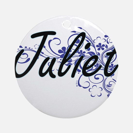 Juliet Artistic Name Design with Fl Round Ornament