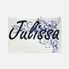 Julissa Artistic Name Design with Flowers Magnets