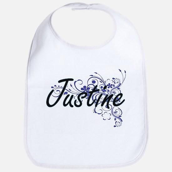 Justine Artistic Name Design with Flowers Bib