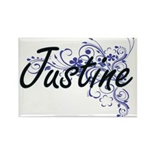 Justine Artistic Name Design with Flowers Magnets