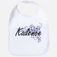 Kadence Artistic Name Design with Flowers Bib