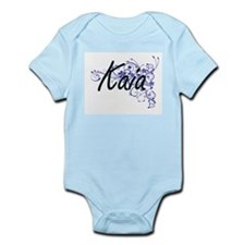 Kaia Artistic Name Design with Flowers Body Suit