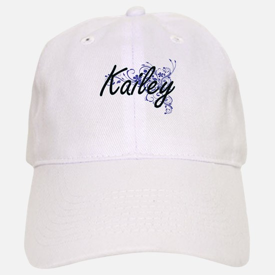 Kailey Artistic Name Design with Flowers Baseball Baseball Cap
