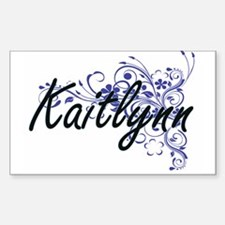 Kaitlynn Artistic Name Design with Flowers Decal