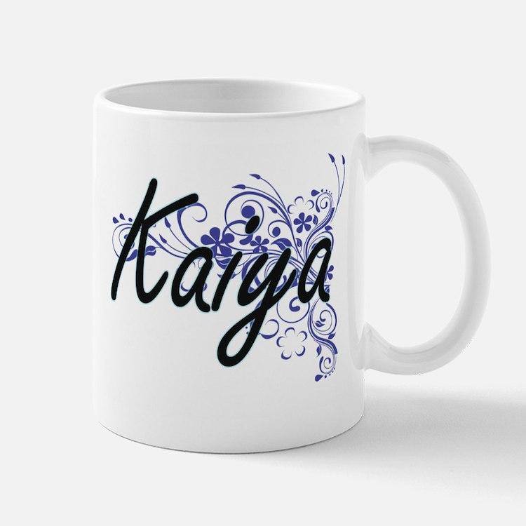 Kaiya Artistic Name Design with Flowers Mugs