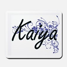Kaiya Artistic Name Design with Flowers Mousepad