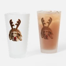 Christmas Reindeer Bulldog Drinking Glass