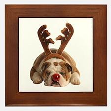 Christmas Reindeer Bulldog Framed Tile