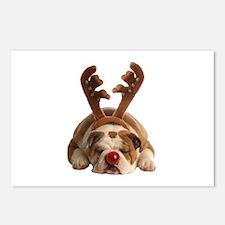 Christmas Reindeer Bulldo Postcards (Package of 8)