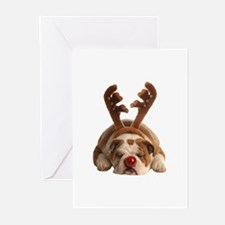 Christmas Reindeer Bulldog Greeting Cards