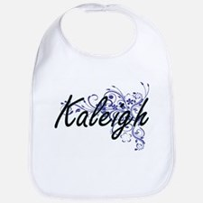 Kaleigh Artistic Name Design with Flowers Bib