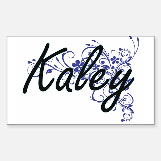 Kaley Artistic Name Design with Flowers Decal