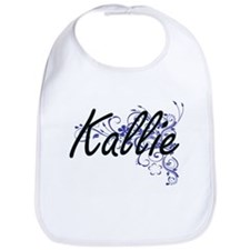 Kallie Artistic Name Design with Flowers Bib