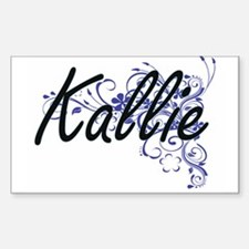 Kallie Artistic Name Design with Flowers Decal