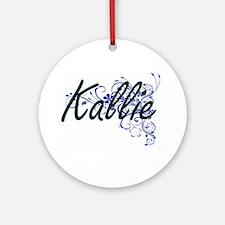 Kallie Artistic Name Design with Fl Round Ornament