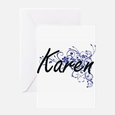 Karen Artistic Name Design with Flo Greeting Cards