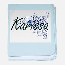 Karissa Artistic Name Design with Flo baby blanket