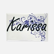 Karissa Artistic Name Design with Flowers Magnets
