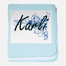 Karli Artistic Name Design with Flowe baby blanket