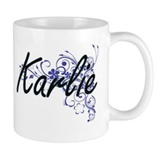 Karlie Artistic Name Design with Flowers Mugs