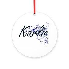 Karlie Artistic Name Design with Fl Round Ornament