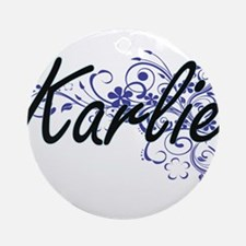 Karlie Artistic Name Design with Fl Round Ornament