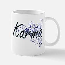 Karma Artistic Name Design with Flowers Mugs