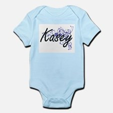 Kasey Artistic Name Design with Flowers Body Suit