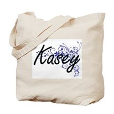 Kasey Artistic Name Design with Flowers Tote Bag