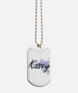 Kasey Artistic Name Design with Flowers Dog Tags