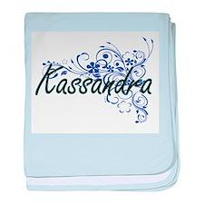 Kassandra Artistic Name Design with F baby blanket