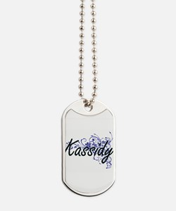 Kassidy Artistic Name Design with Flowers Dog Tags